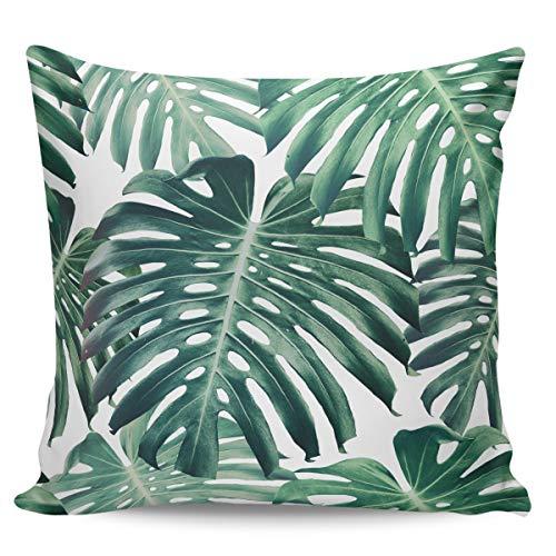 Winter Rangers Fundas de almohada decorativas, diseño de hoja de palmera tropical, hoja de tortuga, color verde Hawaii, ultra suave, funda de cojín cuadrada cómoda para sofá dormitorio, 61 x 60 cm