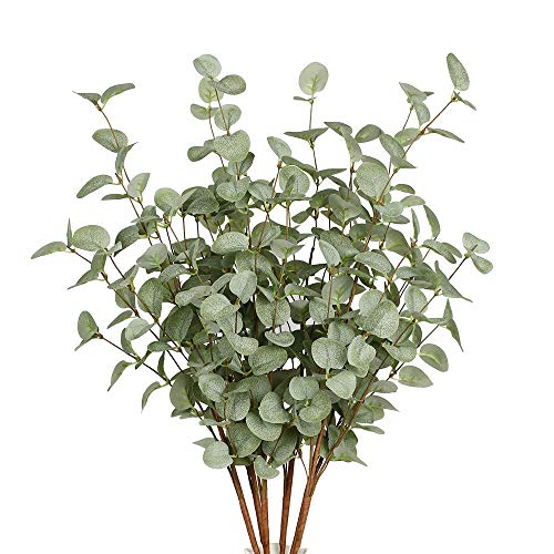 6 Pcs Artificial Greenery Stems Eucalyptus Leaf Spray in Green Greenery Stems Silk Plastic Plants Floral for Home Party Wedding Decoration