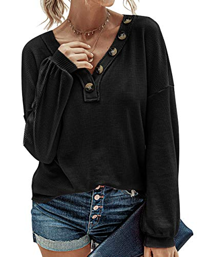 BTFBM Women Waffle Knit Shirts V-Neck Long Sleeve Casual Slouchy Loose Blouses Plain Faux Button Lightweight Pullover (Black, Large)
