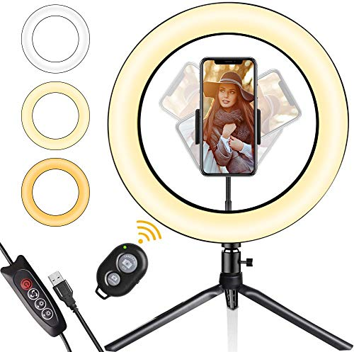 LED Ring Light, Gadom 10.2' Dimmable Ring Light with Tripod Stand & Phone...