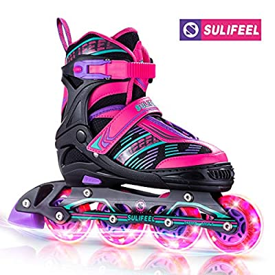 Sulifeel Girls Mixed Adjustable Inline Roller Skates with Light up Wheels, Fun Rollerblades for Kids Boys Ladies Youth - Medium(1-4)