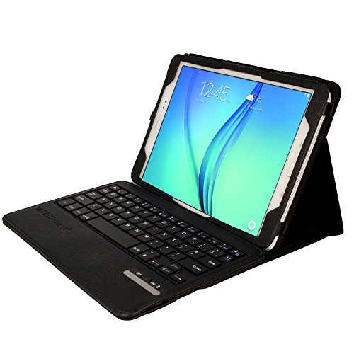 TECHGEAR STRIKE FOLIO Case fits Samsung Galaxy Tab A 9.7 Inch (SM-T550 / SM-P550 Series) - PU Leather Case with Built in Detachable Bluetooth Wireless UK QWERTY Keyboard and Stand (Black)
