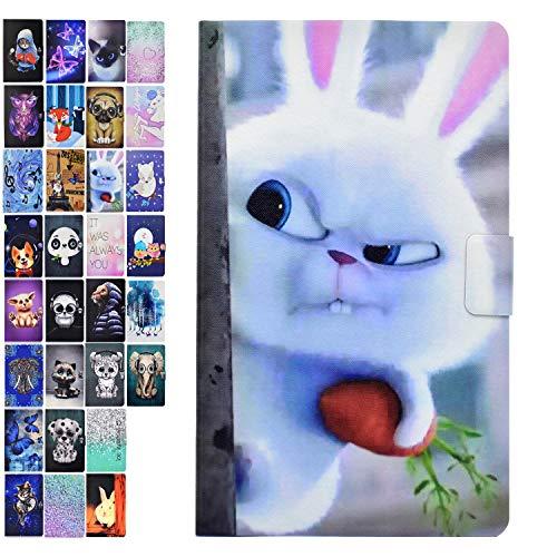 Ancase Tablet Hülle kompatibel für Samsung Galaxy Tab 3 10.1 Zoll GT-P5210 P5200 P5220 Hülle Case Leder Tasche Muster Schutzhülle Flip Cover mit Kartenfach - Weißes Kaninchen