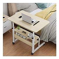 コンピュータに適した機械部品デイズキャスター付きオーバーベッドテーブル高さ調節可能ポータブルで頑丈なラップトップデスク、寝室とリビングルームに適したホイール付きモバイルラップテーブル