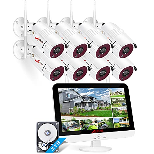 Tutto in Uno1080P Kit Videosorveglianza WiFi con Monitor LCD da 12, ANRAN 8ch Sistemi di Sicurezza Domestica, 8 Videocamere di Sorveglianza, 3TB Disco Rigido, Accesso Remoto, Visione Notturna