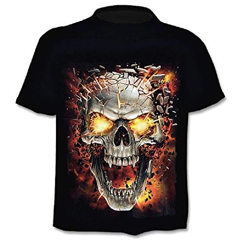 Heren schedel motorrijder Gothic donker korte mouwen grappig hemd kinderen aansteker kostuum kleur zwart T-shirt metaal Rock Punk Halloween