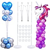 Decojoy Balloon Stand Kit, 2 Sets Thicken Multifunctional Balloon Column Holder and Centerpieces for Floor or Table 2IN1, Weights Base and Pole for Party, 5FT Tall Adjustable, 2021 Upgraded Balloon Tower Backdrop Stand for Christmas|Birthday|Baby Shower Parties