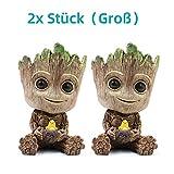WILLBAN Baby Groot Blumentopf Action-Figuren-Spielzeug Stifttopf PVC Held Model Guardians der Galaxie Crafts Figur Wohnkultur (2xStück(Groß))