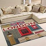 Alfombra grande de piso de 203 x 147 cm, diseño vintage de Londres, Big Ben Tower Bridge Union Jack, alfombra antideslizante para sala de estar