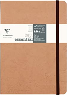 Clairefontaine A5 Age Bag Essentials Thread, Bound Notebook, Dot, 192 Pages, Tobacco