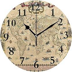 Lmlfes Original Vintage World Map? Silent Non Ticking Round Acrylic Wall Clock Home Office School Decorative Clock Art One Size