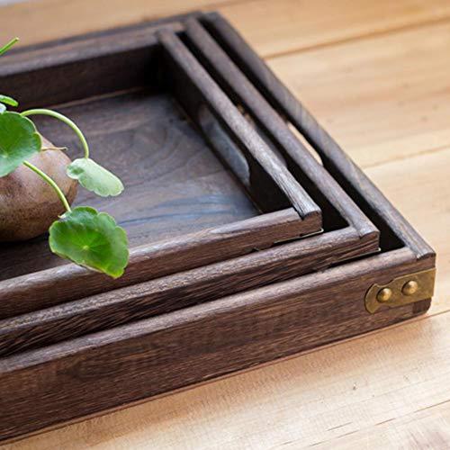 RKRXDH Teetabletts quadratisches Massivholz Teetablett Geschirr Abendessen Frühstück Halter-Behälter-Home Hotel Qualitäts-Haupt (Size : L)