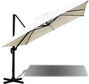 Parasol à bras en aluminium 3x 4Drap 250gr Ecru 91763b + Housse de protection et base en métal incluses Ecru Deluxe Con Fodera