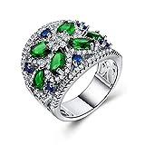 Anillo Anillo de circón para Mujer Anillo de circón Plateado 925 Anillo de Plata joyería Verde 9