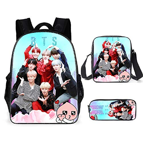 BTS Backpack with Lunch Bag Pencil Case Kids School Bags Student Bookbag for Girls Teens Fans Gifts (C)