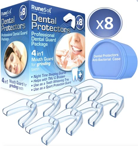 Runesol Ferula dental para bruxismo (8)  100% libre de BPA   Tecnología de fácil moldeado   Paquete de seis protectores dentales en tres tamaños   Protector dental para evitar el rechinamiento