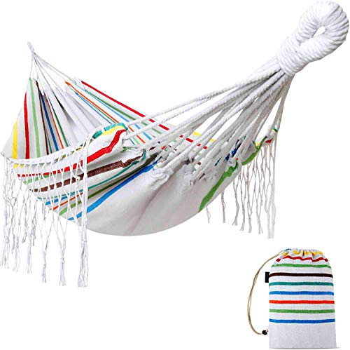 Brazilian Macrame Fringe Single Deluxe Hammock Swing, White Natural Canvas Handmade Hammock Beautiful Boho Style Travel Camping Hammock for Yard, Bedroom, Patio, Porch, Indoor, Outdoor, Wedding Decor