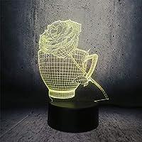 3DイリュージョンランプLEDナイトライトカップとバラの形のバレンタインデープレゼントロマンチックなギフトデスク溶岩ディスプレイ電球展示フラワーテーブルランプカップ