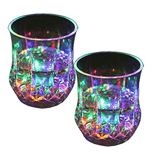 Cambiamento Cromatico Bicchieri con 5 LED Luci, Acrilico Plexiglass Non Fragile Impermeabile Marble Texture Materiale, Bicchieri a LED Multicolore per Feste e Eventi(2pc)
