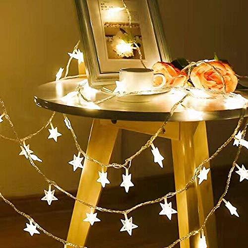 AOIWE Bola LED Cadena de Luz de Control Remoto Blanco Cálido Cadena de Hadas de Navidad Decoración al Aire Libre con Batería 3M 30Led Luces de Hadas Estrella