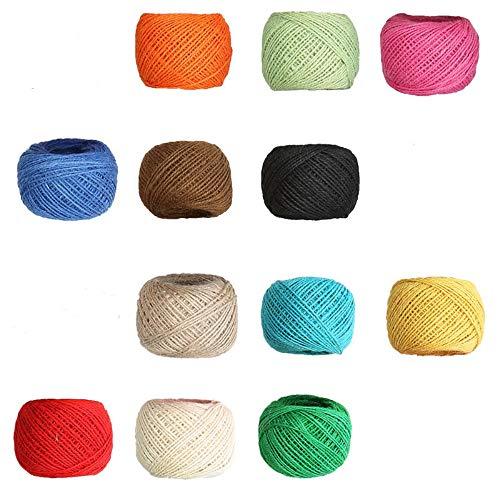 12 Rollos de Hilo de Yute de Colores, Cuerda de Cordel Natural, Hilo de Hilo de Colores, para Botellas, Etiquetas, Tarjetas de felicitación, jardinería, Embalaje, decoración del hogar.