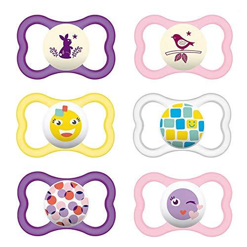 MAM Day & Night MAM Air 'Skin Soft' Ciuccio in silicone 16+ // MAM Air Night Girl // Set da 6 // incl. 3 contenitori sterili per il trasporto.