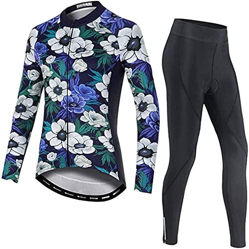 Conjunto de Maillot de Ciclismo para Mujer, Jersey de Ciclismo for Mujer, Traje de Ciclismo Transpirable, Camiseta de Ciclismo de Manga Larga + Pantalones Cortos de Ciclismo con cojín 3D