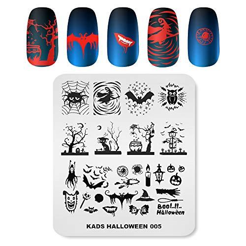 KADS - Plantillas de uñas para Halloween, diseño de calabaza, fantasma, murciélago, decoración