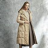 Chaqueta de plumón para mujer de longitud media, diseño de cuello de doble capa, chaqueta cortavientos con capucha y cintura fina (color: caqui, talla: XL)