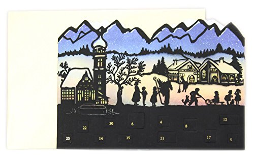 Carousel Home and Gifts Deluxe Silhouette Mini Adventskalender Weihnachtskarte Teelicht Laterne – Alpine Village