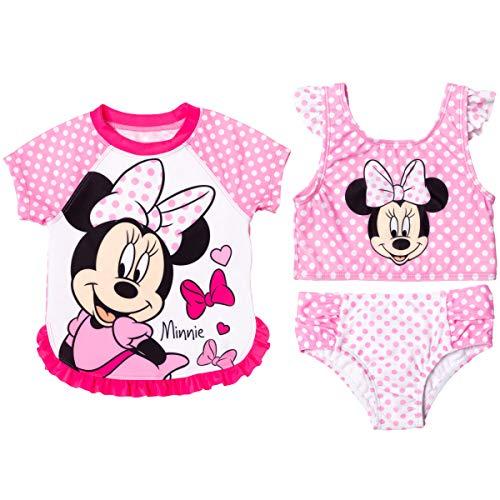 Disney Minnie Mouse Toddler Girls Ruffle Rash Guard Bikini Swimsuit Set Pink/White 2T
