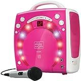 Singing Machine SML283PK Reproductor de CDG portátil de Karaoke Plug-n-Play con CD extra extra rosa
