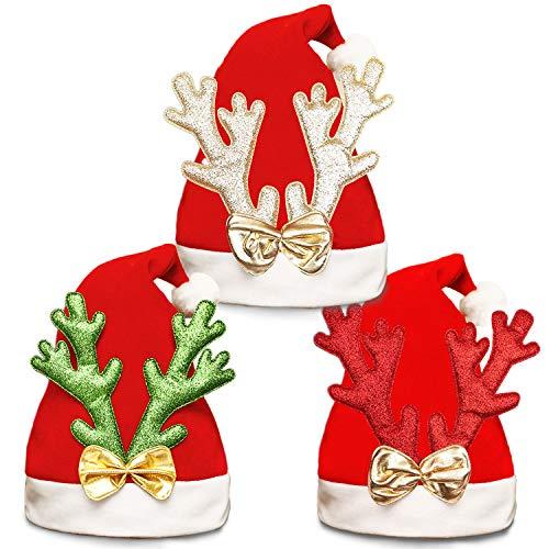 WeyTy Weihnachtsmützen Erwachsene, Weihnachtsmütze Nikolausmütze für Erwachsene Kinder, 3pcs Weihnachtsmann Mütze Erwachsene Rentier Schneemann Hüte Weihnachtsmützen für Weihnachtsfeier Weihnachten