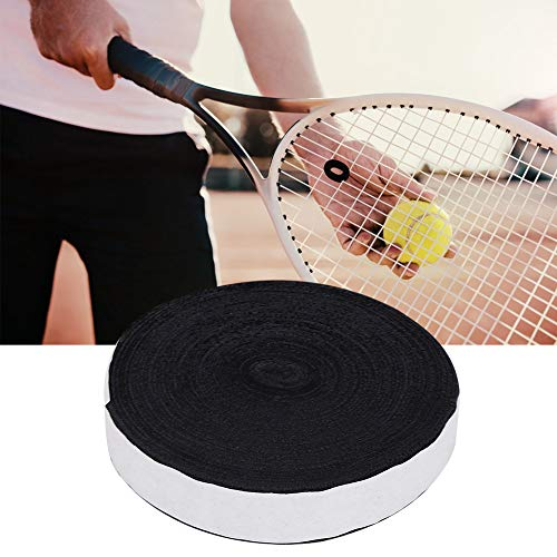 CHENGGONG 10M Racchetta Grip Tape, Racchetta per Racchetta da Tennis 10 m x 3 cm Attrezzo per sport all'aria aperta per Racchette da badminton (nero)