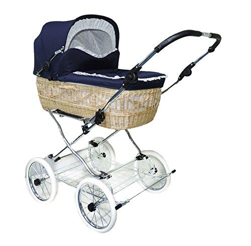 EICHHORN Weidenkorb Kinderwagen Korb Weiß Stoff Marine