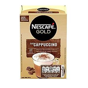 NESCAFÉ GOLD CAPPUCCINO NATURAL, cremoso café soluble con leche desnatada, Estuche con 10 sobres