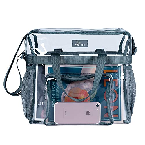 MAY TREE Clear Bag Stadium Approved, Cold-Resistant, Lightweight and Waterproof, Transparent Tote Bag and Gym Clear Bag, See Through Tote Bag for Work, Sports Games and Concerts-12 x12 x6 (Gray)