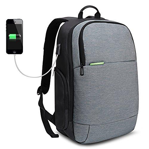 15,6 pollici Zaino per computer con ricarica USB, da escursionismo e da viaggio sportivo,multifunzionale e antifurto con resistenza all'usura di iCozzier, per notebook - grigio