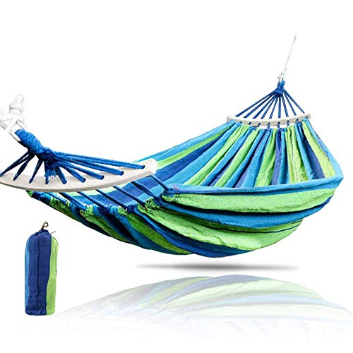 Outdoor Cotton Hammock,Double Hammock Camping Hammock,Max Load Capacity 300 kg, Garden Hammock with Wooden Spreading Bars and Carry Bag, Perfect Use for Yard, Camping, Beach and Patio,Blue,150cm