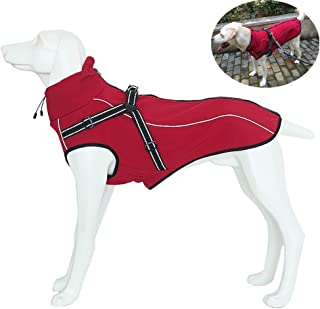 Petilleur Dog Jacket with Harness Outdoor Warm Jackets Winter Windproof Coats with Chest Strap Kit for Medium and Large Dogs