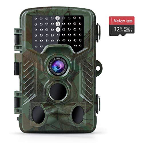 "Coolife Trail Game Camera, 21MP 1080P Hunting Wildlife Camera with 3 Infrared Sensors 49Pcs IR LEDs Night Vision 0.2S Motion Activated IP67 Waterproof 2.4"" LCD with 32GB Card"