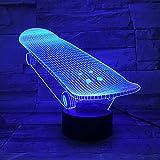 Nur 1 Stück Die Skateboard-Gleitplatte 2020 Bestseller 3D-Lampe betrieben modernes Geschenk für Kleinkind Led Nachtlichtlampe dekorativ