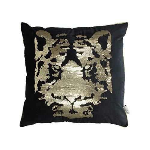 Engelnburg hoogwaardig sierkussen sofakussen kussen tijger fluweel zwart 60x60cm