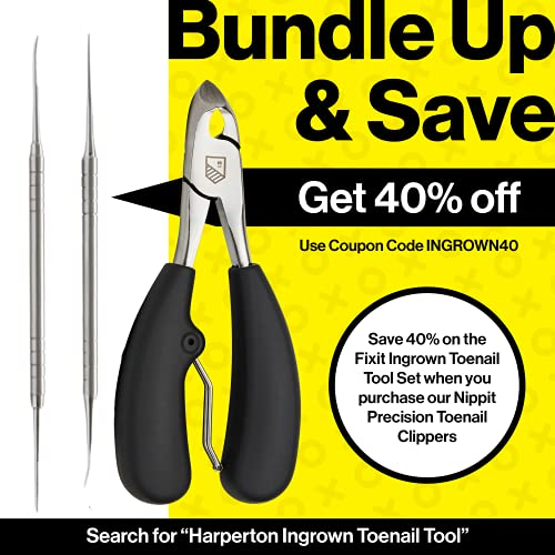 Harperton Toenail Clippers 'Nippit' - Heavy-Duty, Precision Nail Clipper for Thick or Ingrown Toenails