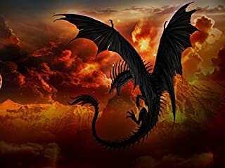 Paint Dragon -Oil Painting On Canvas Modern Wall Art Pictures For Home Decoration Wooden Framed (20x16 Inch, Framed)