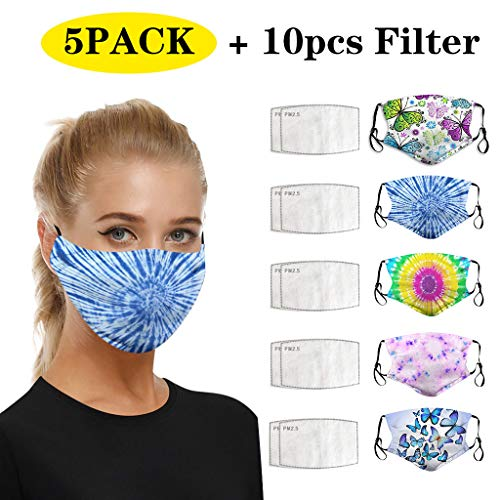 Read About GGGG 5pc Reusable Washable Cotton Face Bandanas Graphic Print Dustproof Mouth Breathing +...