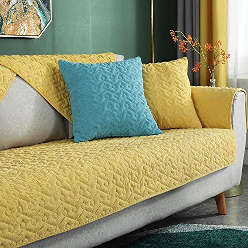 Ginsenget Posavasos Antideslizantes Funda sofá Funda Cama (tamaño Seleccionable),Toalla de cojín de sofá de Felpa de otoño e Invierno,Amarillo,70X210cm