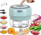 Mini Picadora Electrica, Picadora de Ajo Eléctrica, con 2 Cuchillas Afiladas,Triturador de Alimentos Portátil para Alimentos para Bebés,Carne,Frutas,Nueces y Ingredientes, Impermeable