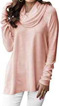Minclouse Women's Long Sleeve Cowl Neck Sweater Pullover Turtleneck Casual Loose Sweatshirts Tunic Tops