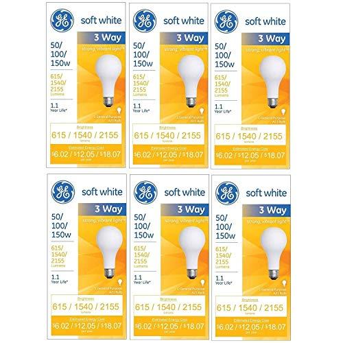 GE 97494 50/100/150 Watt 3-Way Light Bulb with Medium Base, 615/1540/2155 Lumens, A21, Soft White, 6